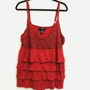 Lane Bryant Red Crochet Layered 22/24 3x Tank Top